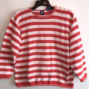 2 for $20 Gap White and Coral Striped Sweater